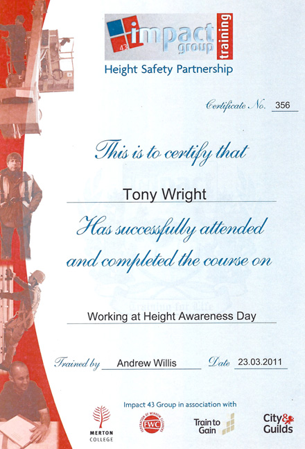 Height Awareness Safety Certification