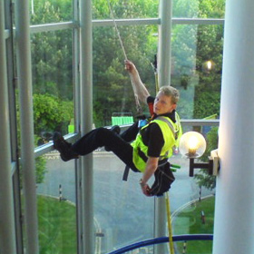 Harness lifted Window Cleaning